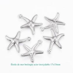 10 breloques étoile de mer acier inoxydable 17.5x15.5mm