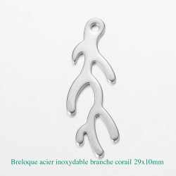 6 Breloques pendentif acier inoxydable branche corail 29x10mm