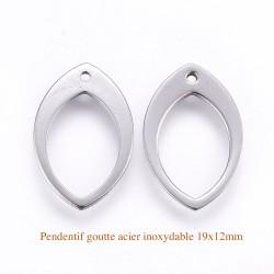6 breloques pendentif acier inoxydable goutte 19x12mm