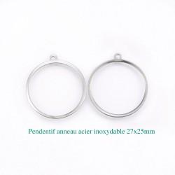 10 pendentifs breloques   rond creux acier inoxydable 27x25mm