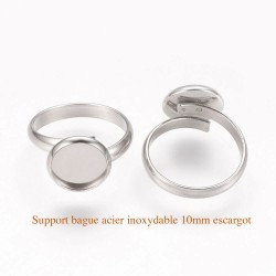 1 bague acier inoxydable support cabochon 10mm