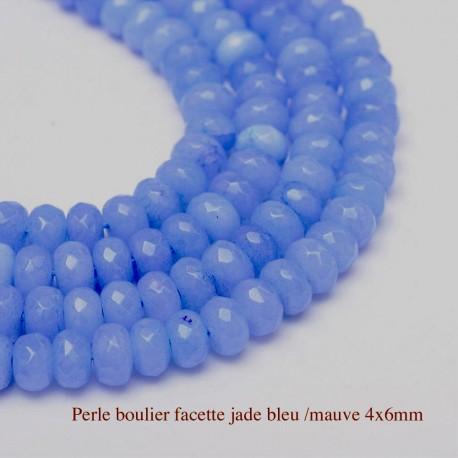 perle jade boulier facetté x20 bleu /mauve  6x4mm