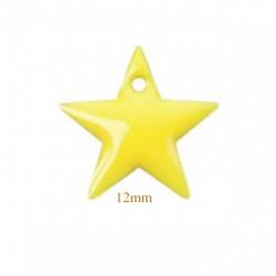 6 sequins étoile emaille  laiton jaune 12mm