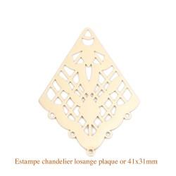 4 Estampes chandelier plaqué or losange filigrane surbrillance 41x31mm