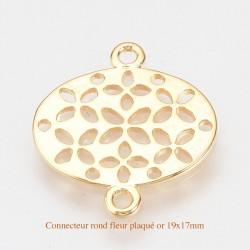 4 liens connecteur ovale  laiton plaqué or motif fleur 19.5x17mm