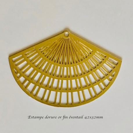 1 estampe éventail lasercut filigrane dore or fin 42x32mm