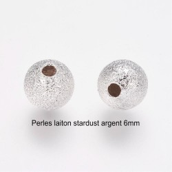 30 Perles laiton intercalaire stardust argent silver clair 6mm