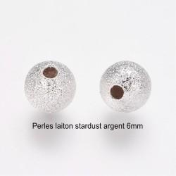 30 Perles laiton intercalaire stardust argent silver clair 6mm