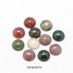 2 cabochons pierre gemme agate indienne fond plat 12mm
