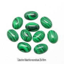 1 cabochon pierre fine malachite reconstituée 25x18mm