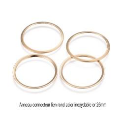 6 anneaux acier inoxydable fermé or 25mm