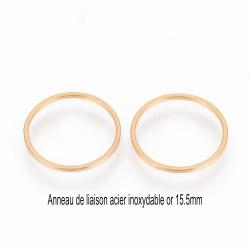 6 anneaux acier inoxydable fermé or 15.5mm