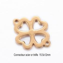 6 connecteurs  fleur acier inoxydable or 15.5x12mm