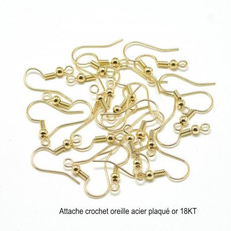 10 boucles d'oreilles acier plaqué or 20mm