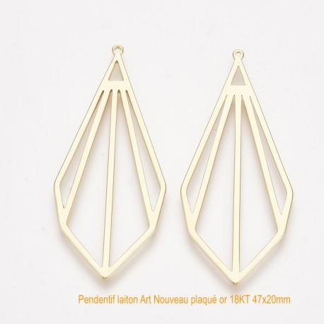 2 pendentifs estampe  laiton paqué or Art Nouveau 47x20mm