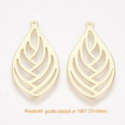 2 pendentifs estampe goutte laiton plaqué or 27x14mm