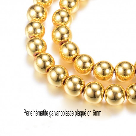 10 perles rondes hématite galvanoplastie plaqué or  6mm