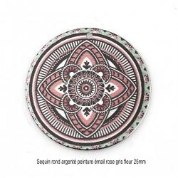 2 Sequins peinture émail rond argenté gris rose ethnique 25mm