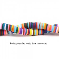 50 perles rondelle polymère multicolore 6mm