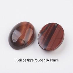 2 cabochons  pierre fine minérale ovale oeil de tigre rouge 18x13mm