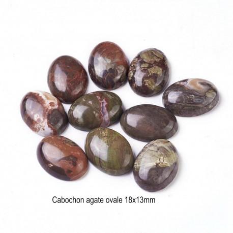 2 cabochons pierre naturelle agate mousse 18x13mm