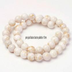 10 perles jade blanche ronde  pailleté or 10mm