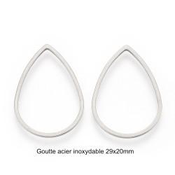 8 anneaux goutte connecteur acier inoxydable 29x20mm