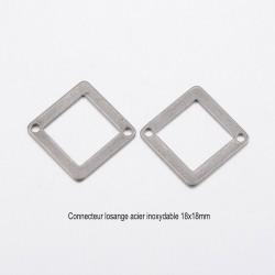 10 connecteurs losange acier inoxydable plat 18x18mm