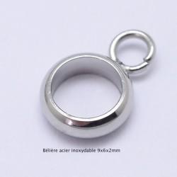 10 bélières perle intercalaire acier inoxydable 9x6x2mm