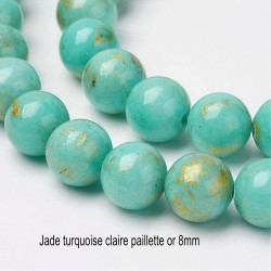 10 perles jade  turquoise claire  pailletté or 8mm