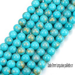 10 perles jade ronde turquoise bleue pailletté or 8mm