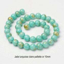 10 perles jade ronde turquoise claire bleue pailletté or 10mm