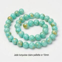 10 perles jade ronde turquoise claire bleue pailletté or 10mm