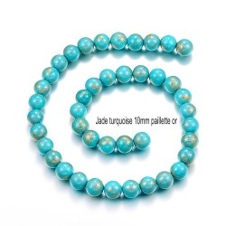 10 perles jade ronde turquoise bleue vif pailletté or 10mm