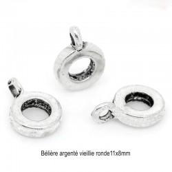 10 bélières alliage de zinc argenté vieillie 11x8mm