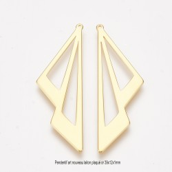 2 pendentifs laiton plaqué or double triangle 39x12x1mm