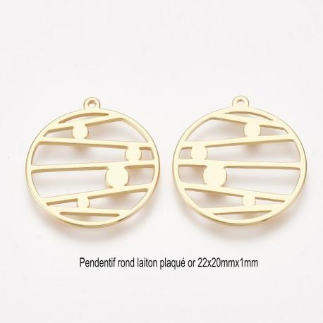 2 pendentifs rond laiton palqué or art nouveau 22x20x1mm