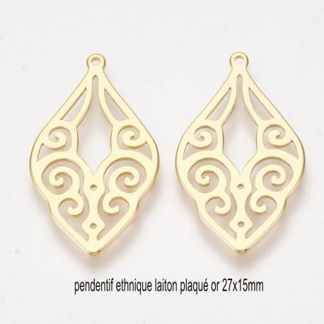 2 pendentifs laiton plaqué or ethnique goutte 27x15mm