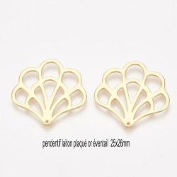 2 pendentifs laiton plaqué or éventail 25x26mm