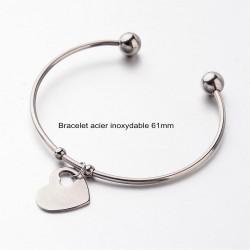 1 bracelet acier inoxydable 61mm et breloque coeur 13x18mm
