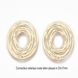 6 Connecteurs ovale filigrane laiton plaqué or 23x17mm