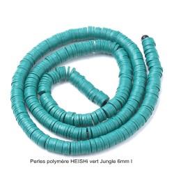 50 perles palet plat pâte polymère Heishi vert JUNGLE 6mm