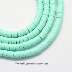 50 perles palet plat pâte polymère turquoise vert d'eau 5mm