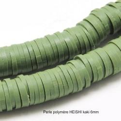 50 perles palet plat pâte polymère Heishi kaki 6mm