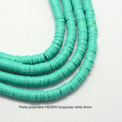 50 perles palet plat pâte polymère Heishi turquoise verte  6mm