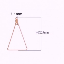 4 supports boucle d'oreille triangle or 40x25mm