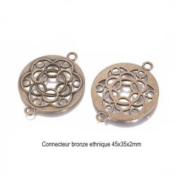 4 Connecteurs bronze ethnique 45x35mm