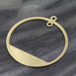 2 pendentifs rond géometrique laiton brut 30mm