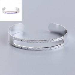bracelet manchette 15mm argenté pour tissage perles