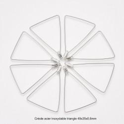 6 créoles triangle acier inoxydable 49x35x0,6mm